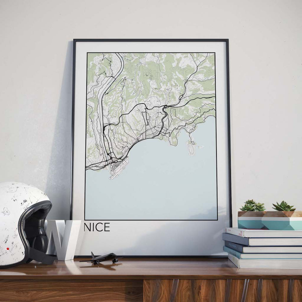 Decorate your home or office with a Nice, France Minimalist City Map Print from The Neighbourhood Unit