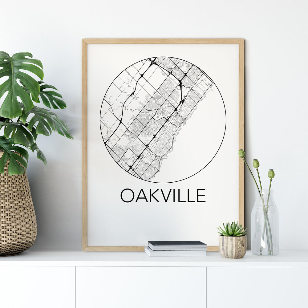 Oakville, Ontario Minimalist City Map Print