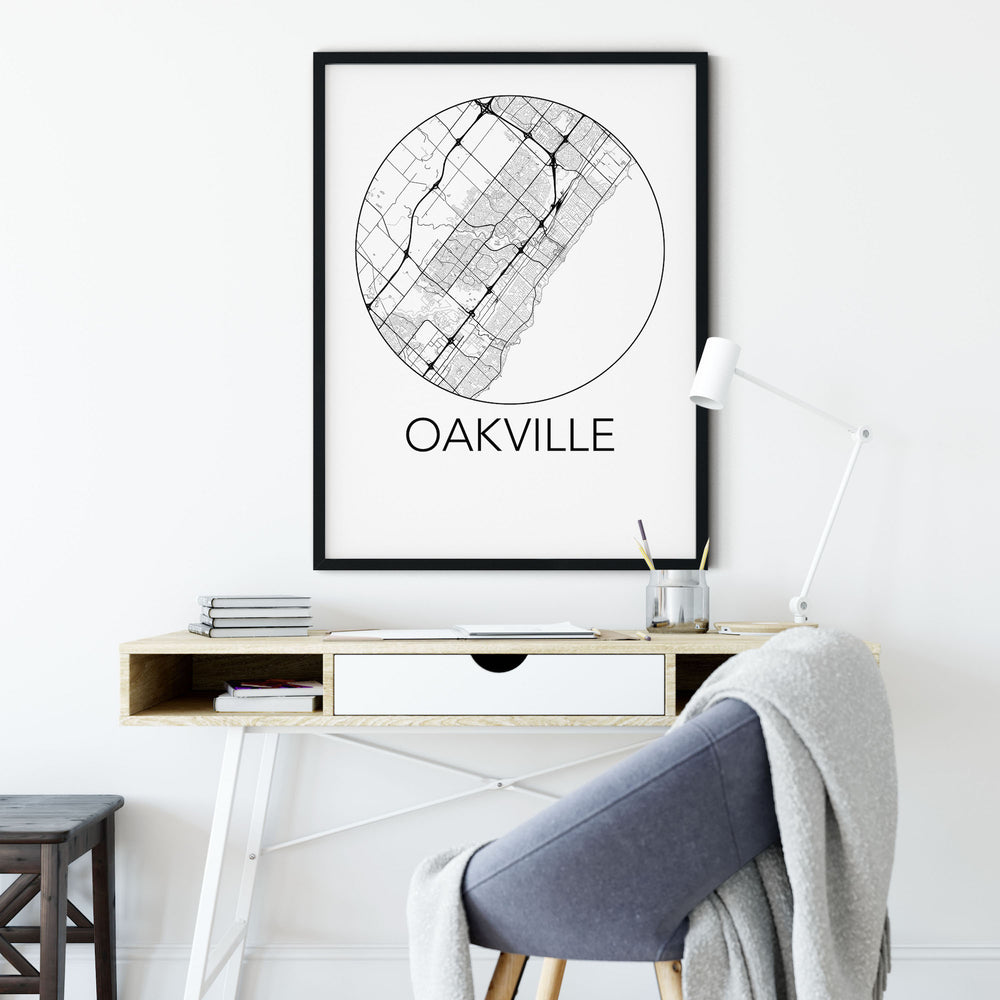 Decorate your home or office with a Oakville, Ontario Minimalist City Map Print from The Neighbourhood Unit