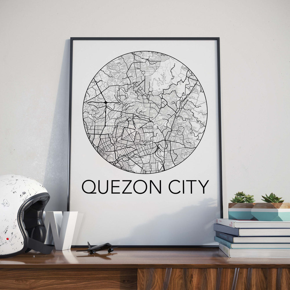 Decorate your home or office with a Quezon City, Philippines Minimalist City Map Print from The Neighbourhood Unit