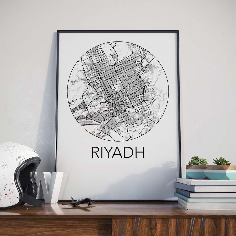 Decorate your home or office with a Riyadh, Saudi Arabia Minimalist City Map Print from The Neighbourhood Unit