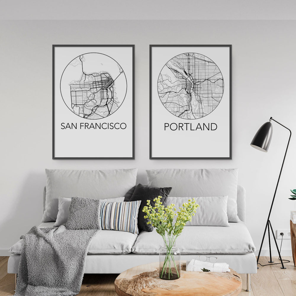 Decorate your home or office with a San Francisco, California Minimalist City Map Print from The Neighbourhood Unit