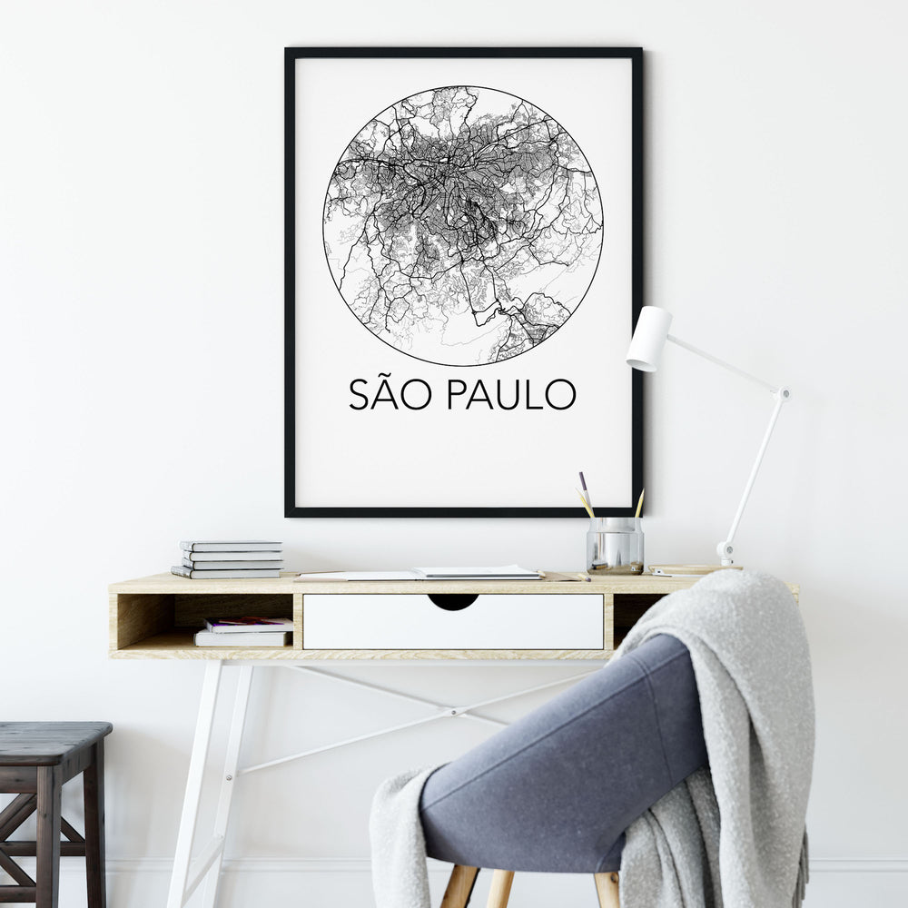 Decorate your home or office with a Sao Paulo, Brazil Minimalist City Map Print from The Neighbourhood Unit