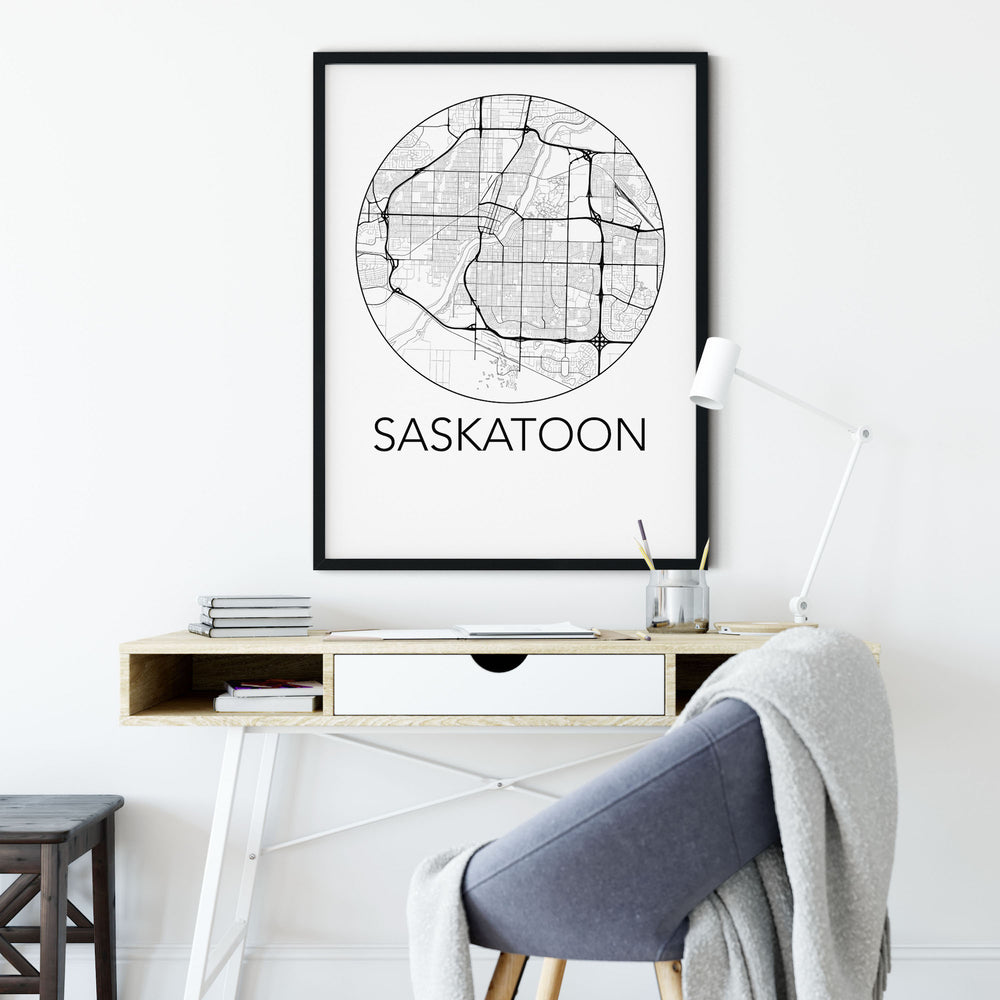Decorate your home or office with a Saskatoon, Saskatchewan Minimalist City Map Print from The Neighbourhood Unit