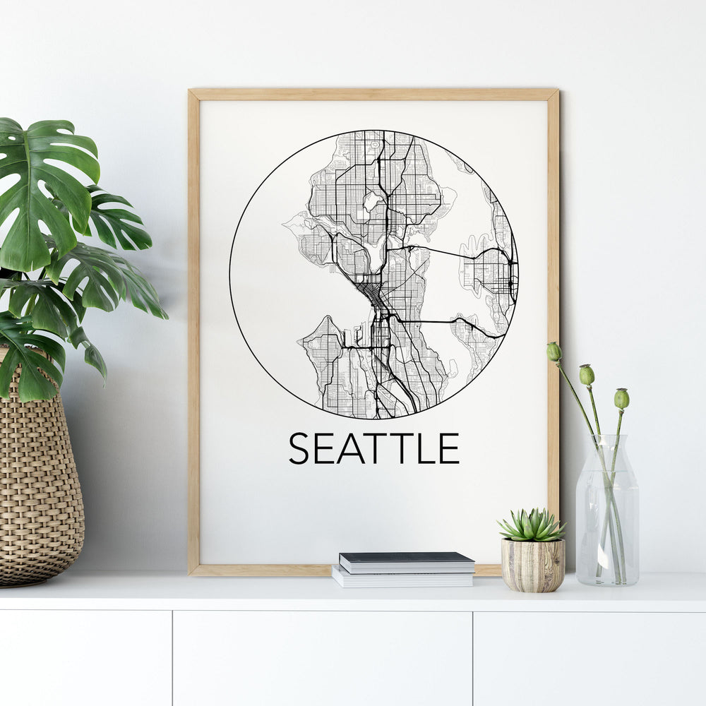 Decorate your home or office with a Seattle, Washington Minimalist City Map Print from The Neighbourhood Unit