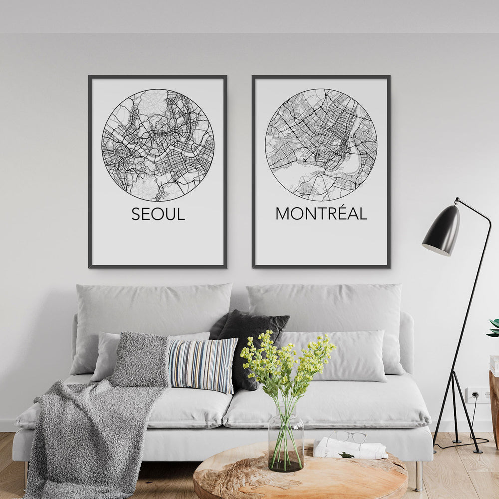 Decorate your home or office with a Seoul, Korea Minimalist City Map Print from The Neighbourhood Unit