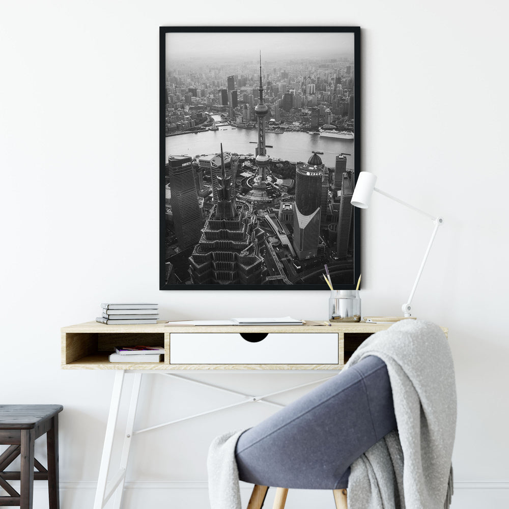 Decorate your home or office with a Shanghai Oriental Pearl Black & White Photo from The Neighbourhood Unit