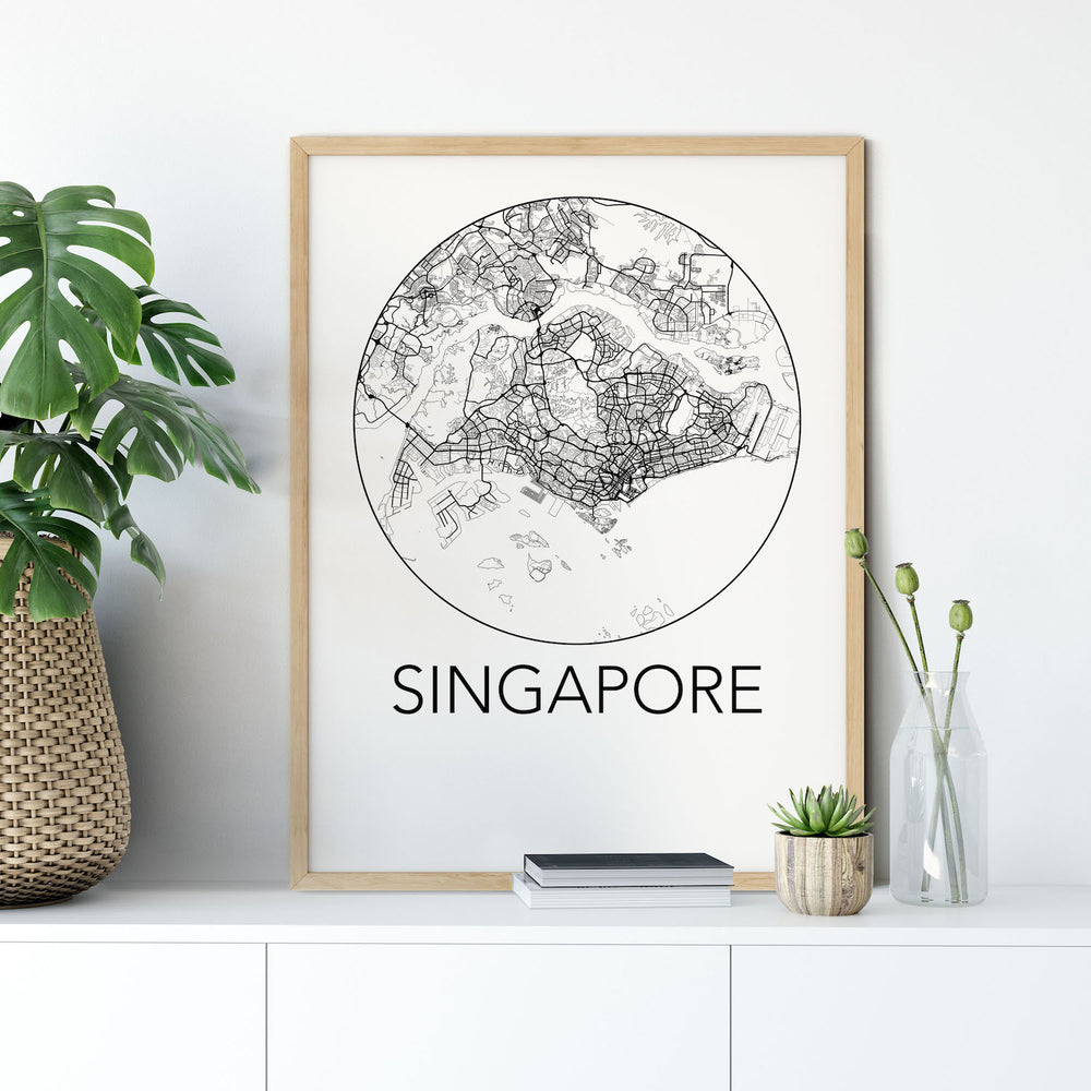 Decorate your home or office with a Singapore Minimalist City Map Print from The Neighbourhood Unit