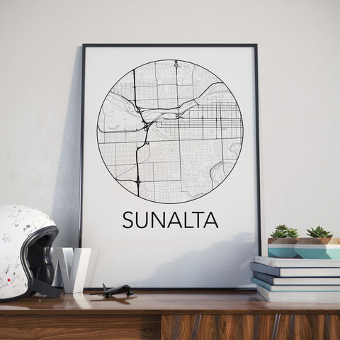 Sunalta, Calgary Minimalist City Map Print