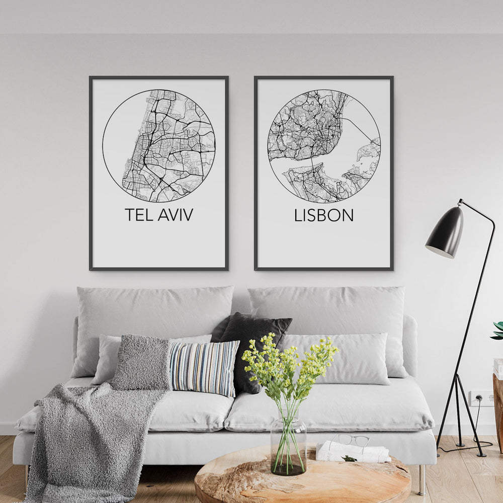 Decorate your home or office with a Tel Aviv, Israel Minimalist City Map Print from The Neighbourhood Unit