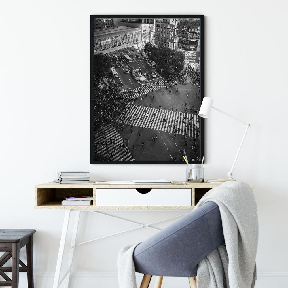 Decorate your home or office with a Tokyo Shibuya Crossing 1 Black & White Photo from The Neighbourhood Unit
