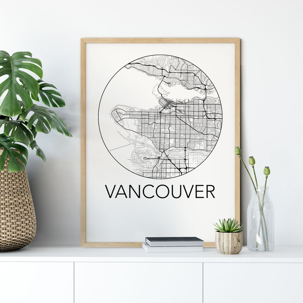Decorate your home or office with a Vancouver, BC Minimalist City Map Print from The Neighbourhood Unit