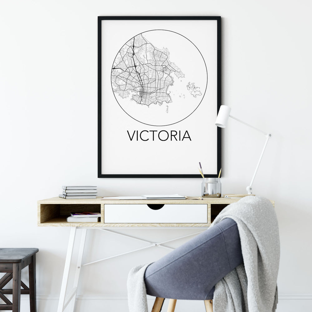 Decorate your home or office with a Victoria, BC Minimalist City Map Print from The Neighbourhood Unit