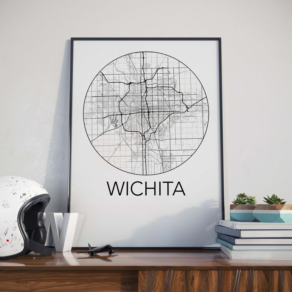 Wichita, Kansas Minimalist City Map Print
