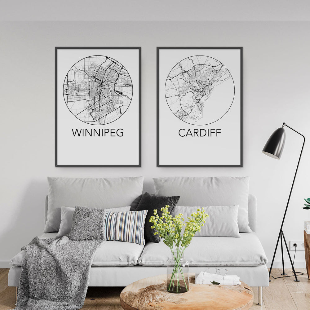 Decorate your home or office with a Winnipeg, Manitoba Minimalist City Map Print from The Neighbourhood Unit