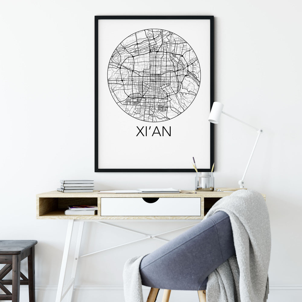 Decorate your home or office with a Xi'an, China Minimalist City Map Print from The Neighbourhood Unit