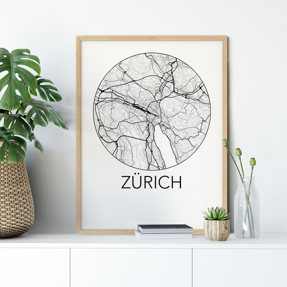 Decorate your home or office with a Zurich, Switzerland Minimalist City Map Print from The Neighbourhood Unit