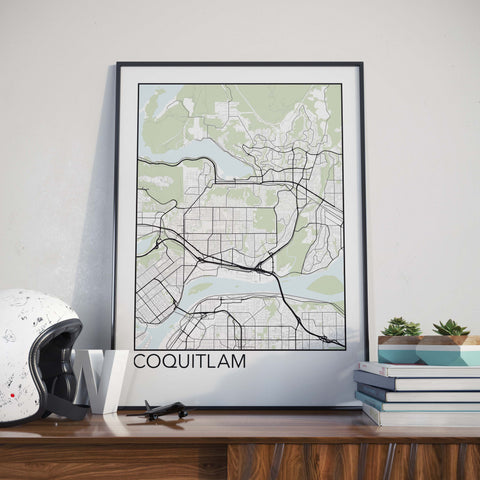 Coquitlam, BC Minimalist City Map Print