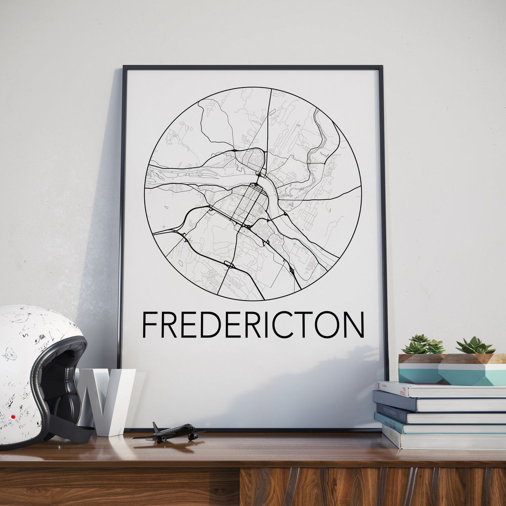 Decorate your home or office with a Fredericton, New Brunswick Minimalist City Map Print from The Neighbourhood Unit