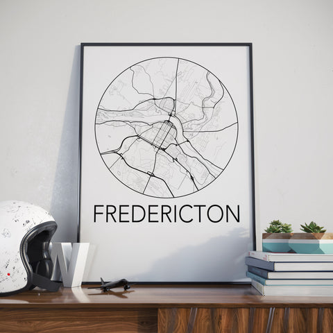 Fredericton, New Brunswick Minimalist City Map Print