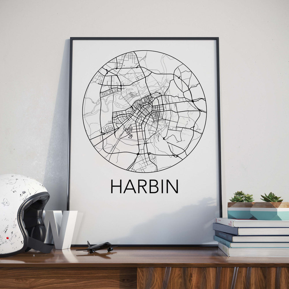 Decorate your home or office with a Harbin, China Minimalist City Map Print from The Neighbourhood Unit