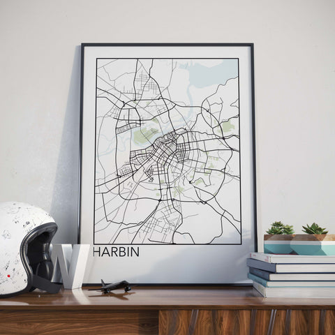 Harbin, China Minimalist City Map Print