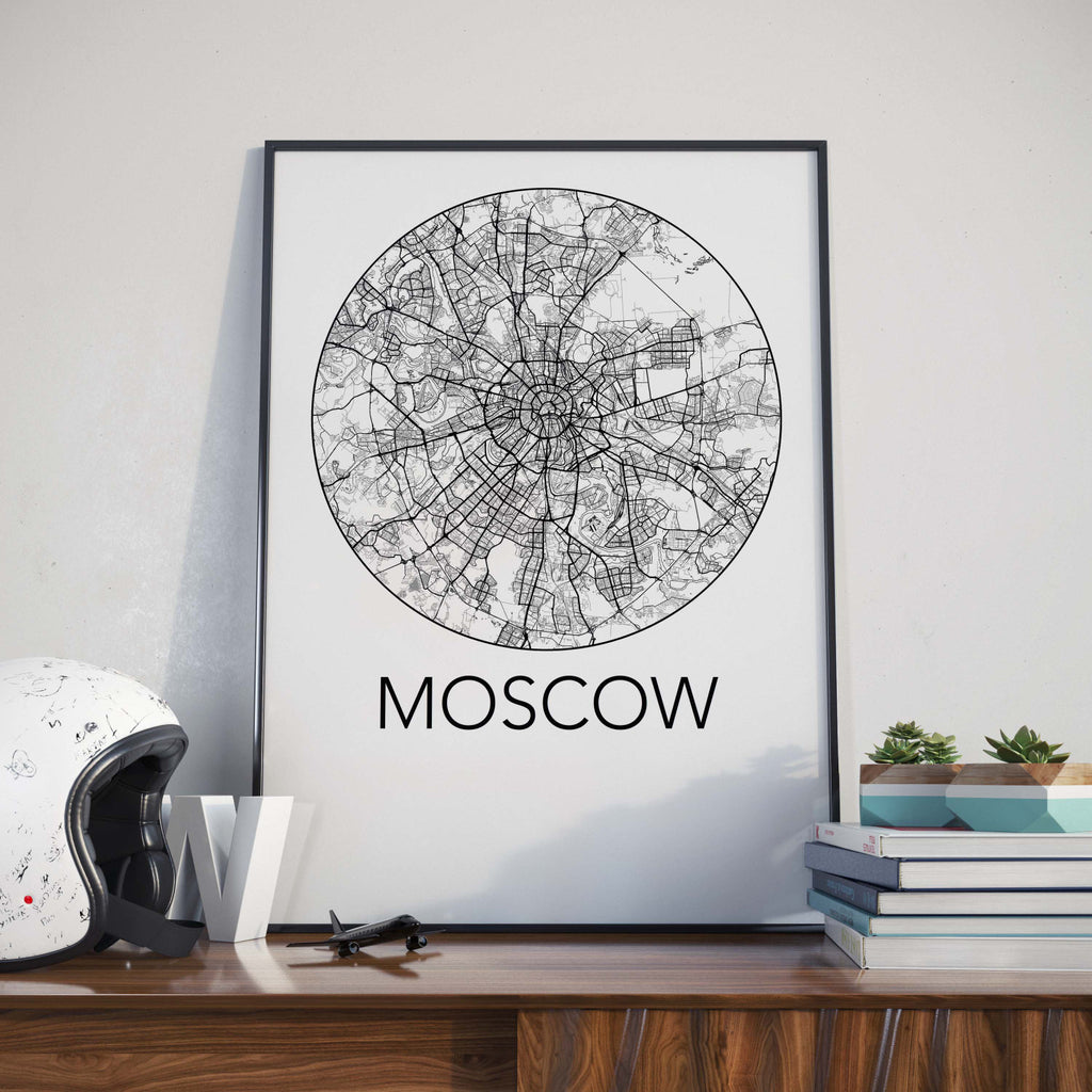 Moscow, Russia Minimalist City Map Print