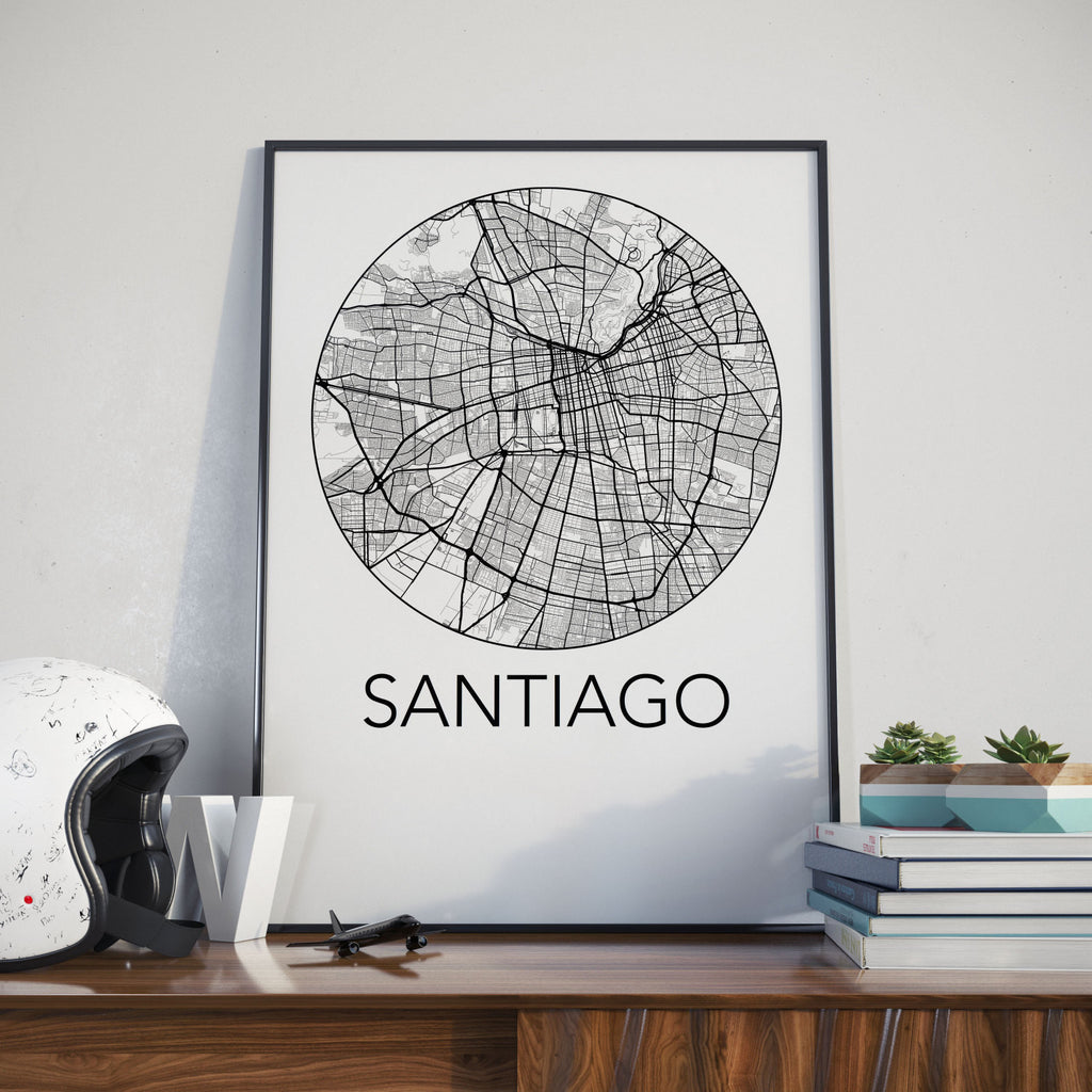 Santiago, Chile Minimalist City Map Print