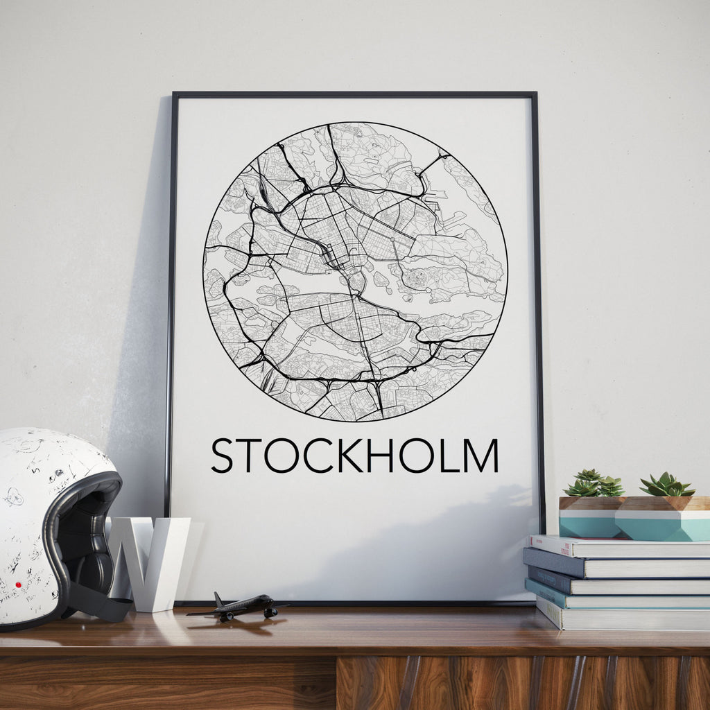 Stockholm, Sweden Minimalist City Map Print
