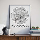 Decorate your home or office with a Indianapolis, Indiana Minimalist City Map Print from The Neighbourhood Unit