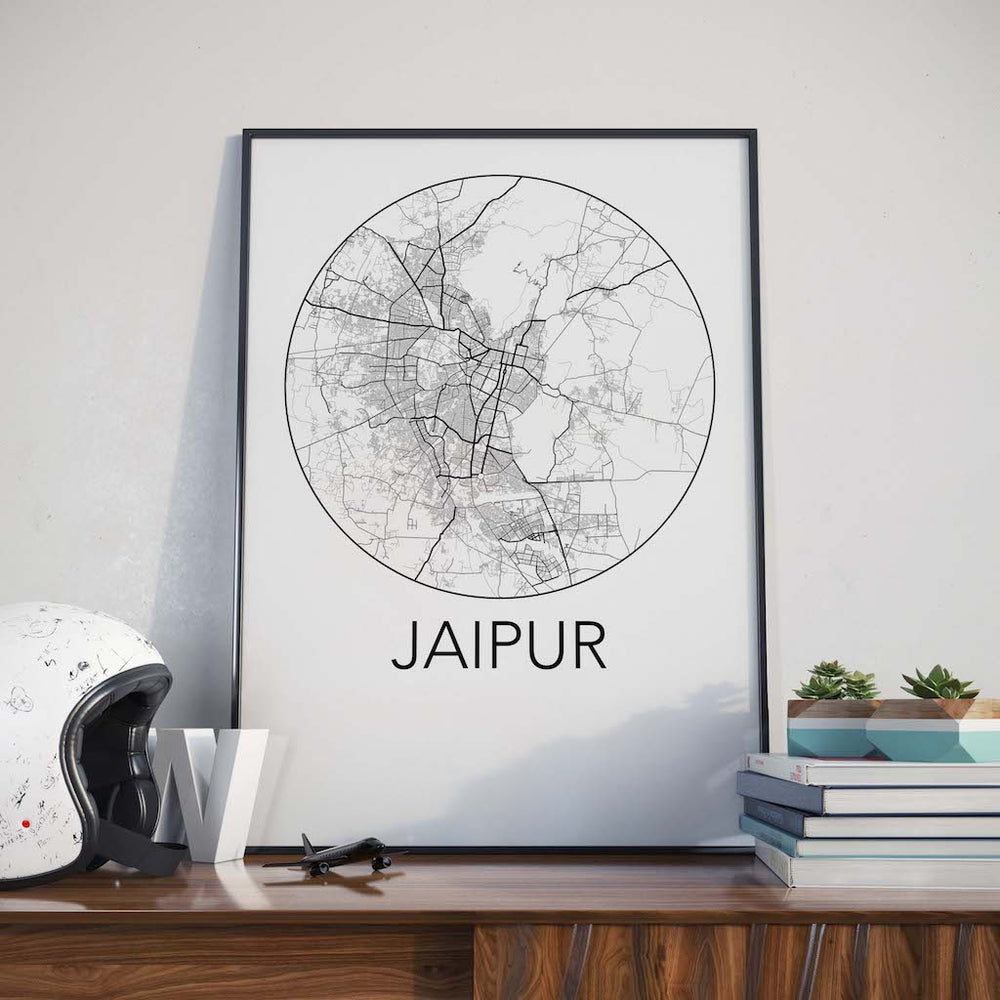 Decorate your home or office with a Jaipur, India Minimalist City Map Print from The Neighbourhood Unit