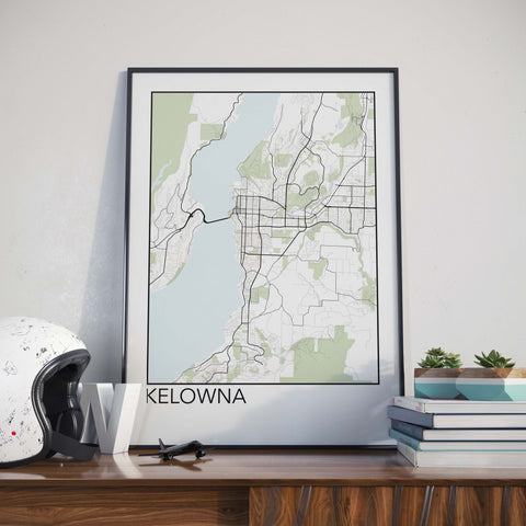Kelowna, BC Minimalist City Map Print