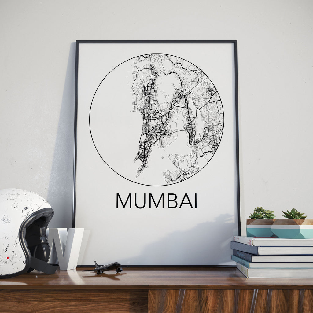 Mumbai, India Minimalist City Map Print