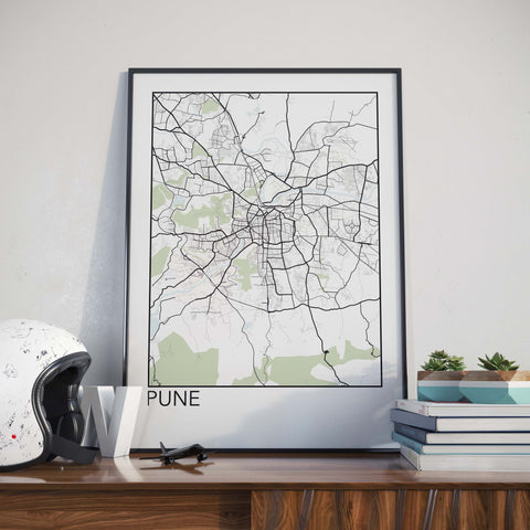 Pune, India Minimalist City Map Print