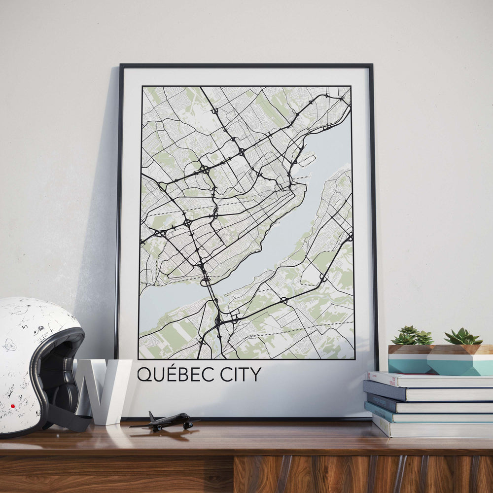 Decorate your home or office with a Quebec City, Quebec Minimalist City Map Print from The Neighbourhood Unit