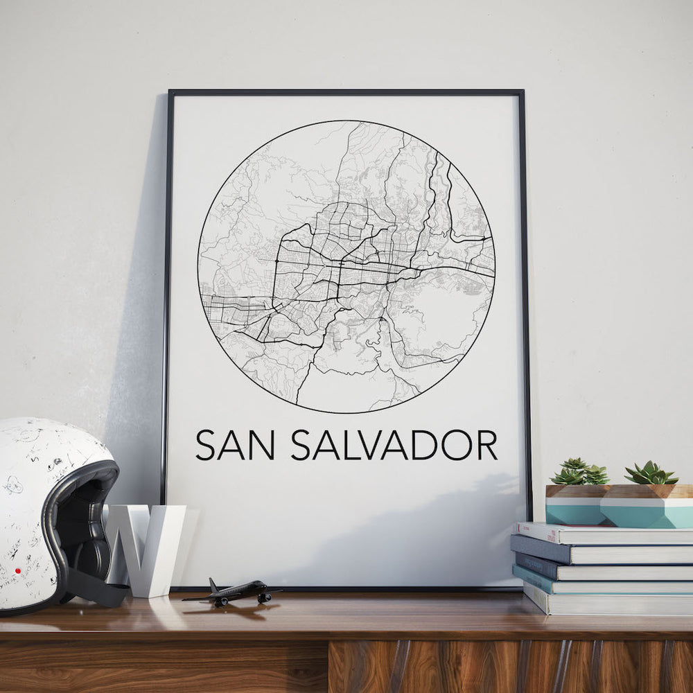 Decorate your home or office with a San Salvador, El Salvador Minimalist City Map Print from The Neighbourhood Unit