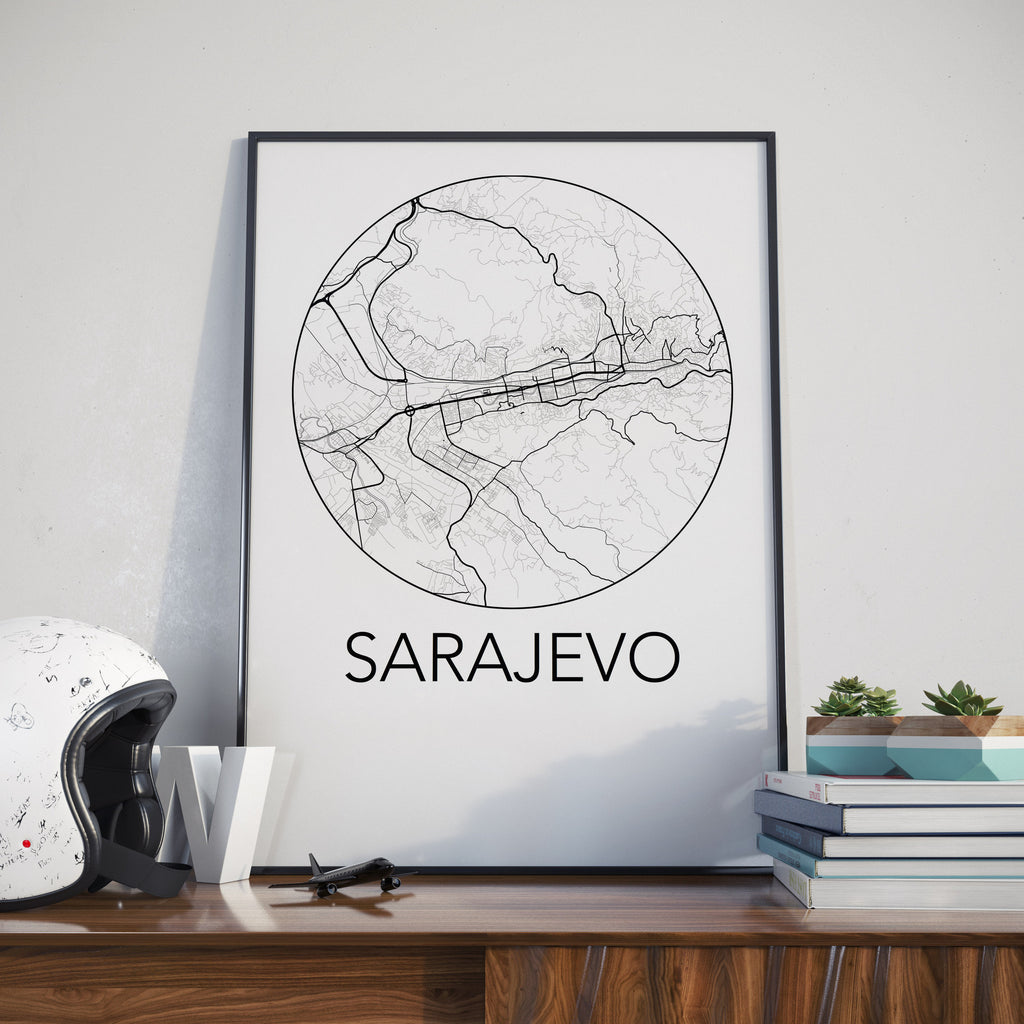 Sarajevo, Bosnia and Herzegovina Minimalist City Map Print