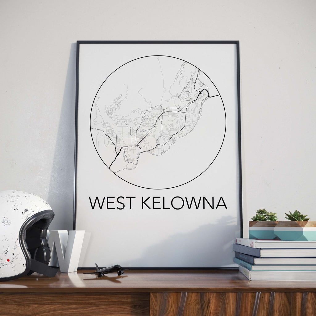 West Kelowna, BC Minimalist City Map Print