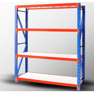 A standard unit of longspan shelving with 4 levels
