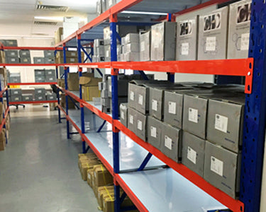 A row of shelving made up of a starter bay and several addon bays