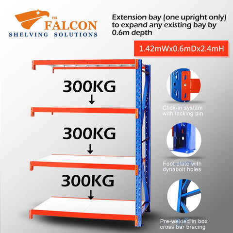 Falcon™ Long Span Heavy Duty 1.5M (W) X 0.6M (D) X 2.4M (H) Addon Bay – 300KG P/Level - Australia No.1 Online store -  5 years warranty - 1200 KG loading - Falcon Shelving™