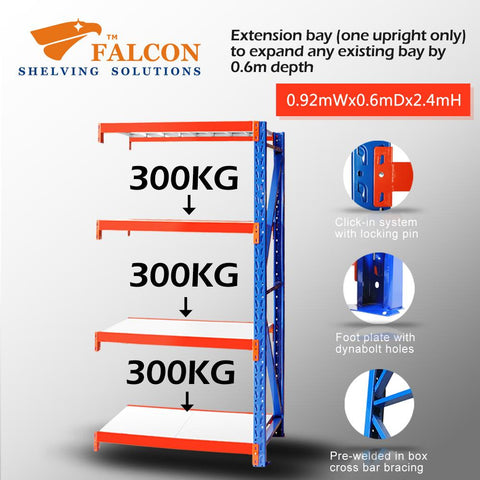 Falcon™ Long Span Heavy Duty 1M (W) X 0.6M (D) X 2.4M (H) Addon Bay – 400KG P/Level - Australia No.1 Online store -  5 years warranty - 1200 KG loading - Falcon Shelving™