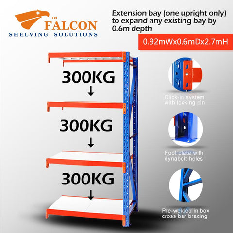 Falcon Shelving™ Long Span Heavy Duty 1M (W) X 0.6M (D) X 2.7M (H) Addon Bay – 400KG P/Level - Australia No.1 Online store -  5 years warranty - 1200 KG loading - Falcon Shelving™