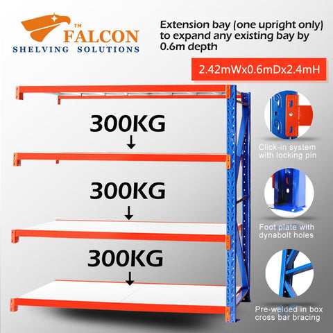 Falcon Shelving™ Long Span Heavy Duty 2.5M (W) X 0.6M (D) X 2.4M (H) Addon Bay – 300KG P/Level - Australia No.1 Online store -  5 years warranty - 1200 KG loading - Falcon Shelving™