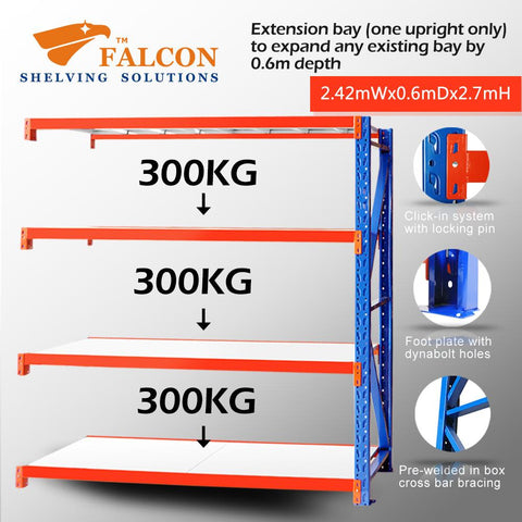 Falcon Shelving™ Long Span Heavy Duty 2.5M (W) X 0.6M (D) X 2.7M (H) Addon Bay – 300KG P/Level - Australia No.1 Online store -  5 years warranty - 1200 KG loading - Falcon Shelving™