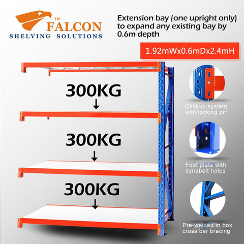 Falcon Shelving™ Long Span Heavy Duty 2M (W) X 0.6M (D) X 2.4M (H) Addon Bay – 300KG P/Level - Australia No.1 Online store -  5 years warranty - 1200 KG loading - Falcon Shelving™