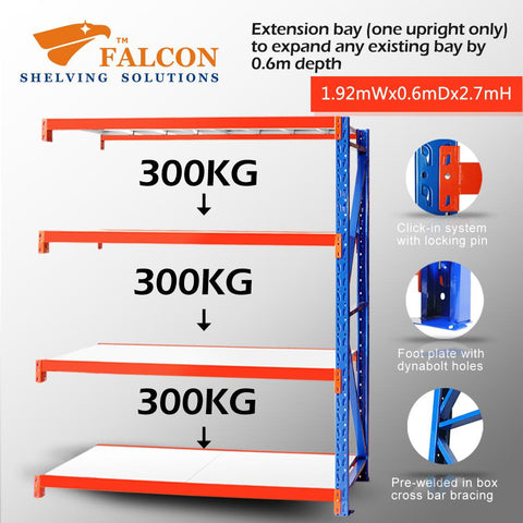 Falcon Shelving Storage warehouse garage long span racking shelving racks shelf stand 2mW 0.6mD 2.7mH add on 1