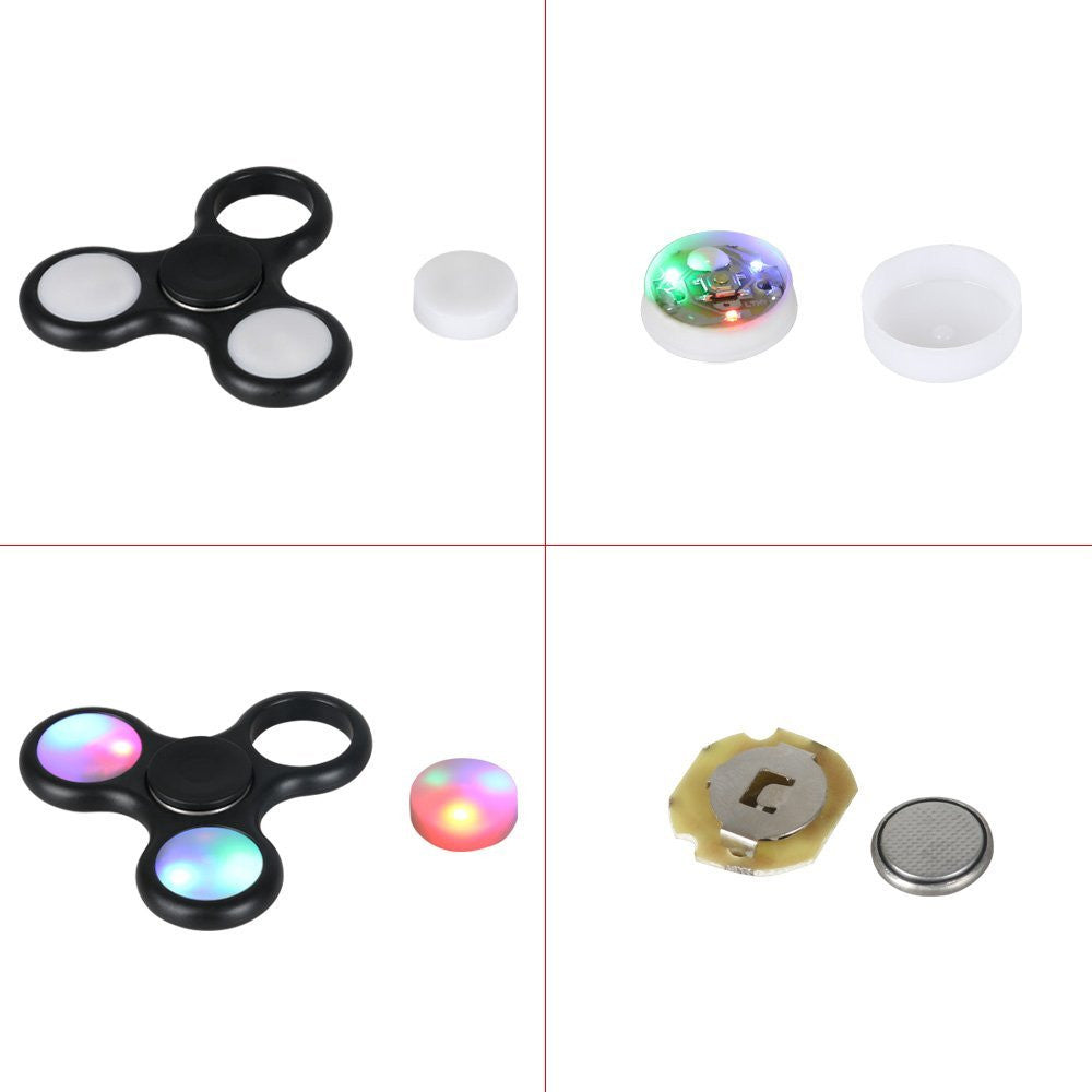 LED Light Flash Tri Fidget Hand Finger Spinner Gyro EDC ADHD