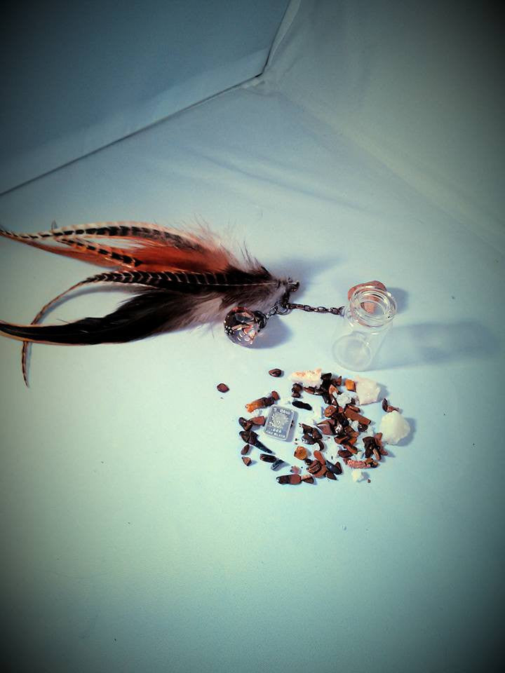 Tiger eye,  feathers charm