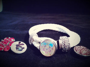 HOT NEW FASHION SNAP AND SWITCH 18mm  Snap white leather bracelet with multiple Snaps